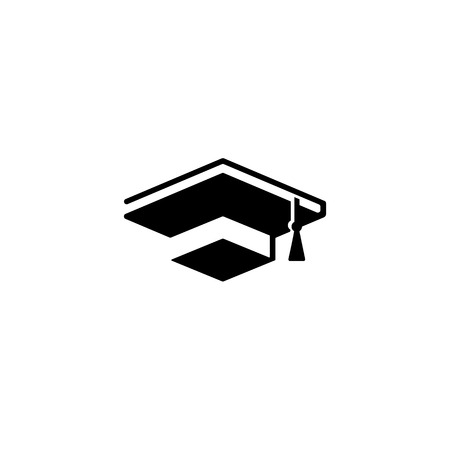 Isolated black and white color bachelor hat of books logo on white background, students graduation uniform logotype, education element vector illustration