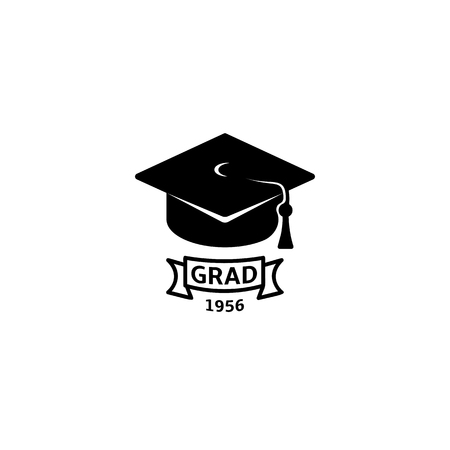 Isolated black and white color bachelor hat with word grad logo, students graduation uniform logotype, education element vector illustration