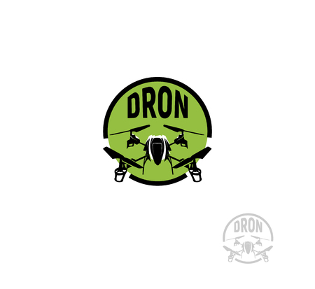 Isolated round shape black color quadrocopter in green circle logo on white background, unmanned aerial vehicle logotype, rc drone vector illustration Illustration