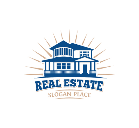 suburban neighborhood: Isolated blue color architectural house icon for real estate business leaflet emblem on white background vector illustration Illustration