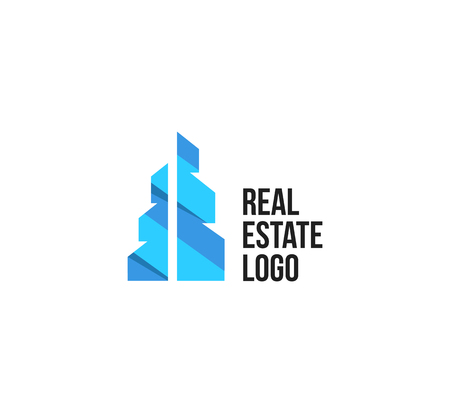 Isolated colorful real estate agency logo, house logotype on white, home concept icon,skyscraper vector illustration
