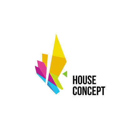 Isolated colorful real estate agency logo, house logotype on white, home concept icon,skyscraper vector illustration.