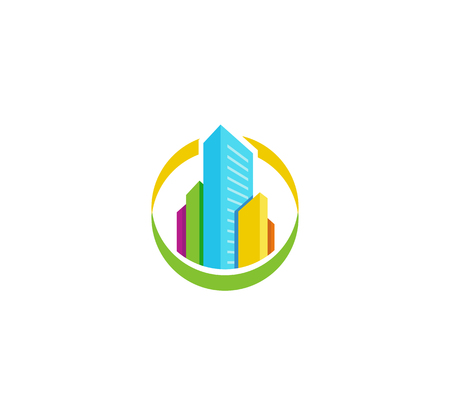 monopolio: Isolated colorful real estate agency logo, house logotype on white, home concept icon,skyscraper vector illustration