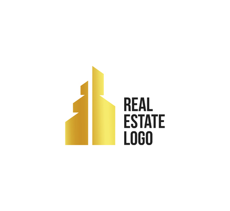 monopolio: Isolated golden real estate agency logo, house logotype on white, home concept icon,skyscraper vector illustration