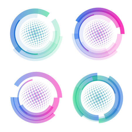 meshy: Isolated abstract colorful round shape logo set, circular frames logotypes collection, golf balls icons on white background vector illustration