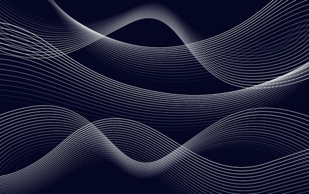 Isolates abstract dark blue color wavy lines background, curves backdrop vector illustration