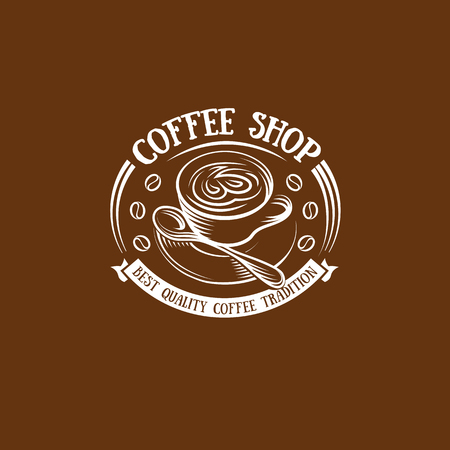 Isolated brown color cup in retro style logo, logotype for coffee shop vector illustration on brown background. Illustration