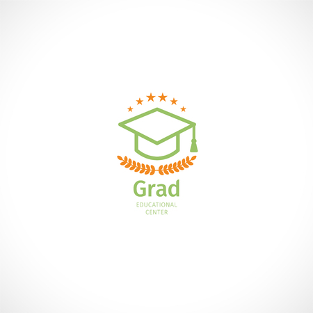 Isolated abstract orange and green color graduate hat logo, stylized mortarboard,educational center logotype on white background. Stock Illustratie