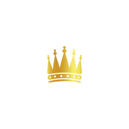 businesslike: Isolated golden color crown logo on white background, luxury royal sign, jewel vector illustration.