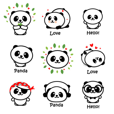 Cute Panda Asian Bear Vector Illustrations, Collection of Chinese Animals Simple Logo Elements, Black and White Icons