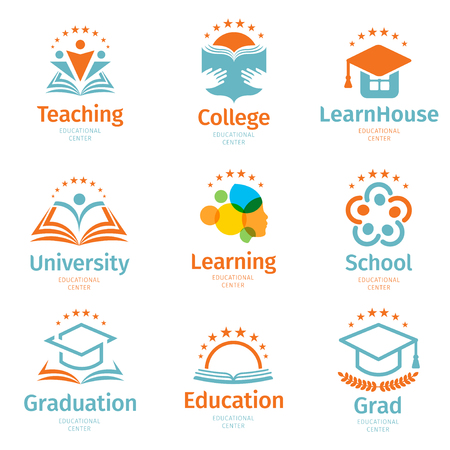 Isolated abstract colorful education and learn logo set, university and school books, and more.