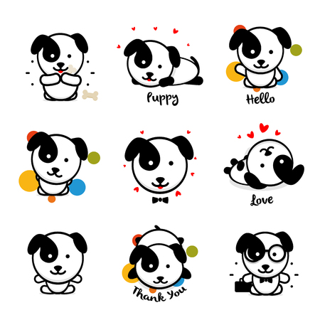 Cute puppy vector logo set. Favorite pet logotype collection. Joyful and cheerful human friend in the cartoon style icons, is played in a bone, lies, loves, welcomes and rests