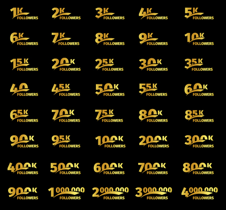 Stylish strict design, number of subscribers in social networks, the anniversary vector illustration set. My followers logo collection. Large vector set of gold numbers and letters online communities