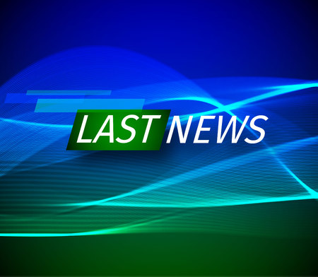 Announcement and a message line with a message about the latest news on the air on a futuristic green and blue background with abstract lines and glowing design elements. Vector baner illustration.