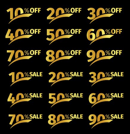 Golden numbers with percentage on a black background. Promotional business offer for buyers. The number of discounts in the strict style gold color. Vector illustration set Vettoriali