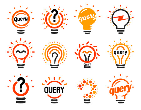 New question mark symbols, flat bright cartoon bulbs. White and orange colors sign. Stylized set of vector lightbulbs, collection colorful logotypes. Query icon, circle logo.