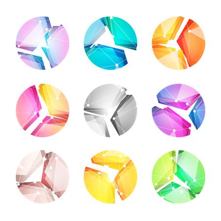 Logotipos del vector fijados, juntando formas abstractas geométricas brillantes y coloreadas. Logotipo de tecnología, mundo digital y progreso tecnológico