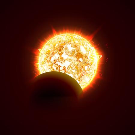 New sun eclipse vector illustration, 3d bright sunny summer day. Half of the sun realistic picture Illustration