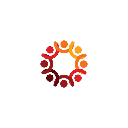 Abstract vector logo depicting the stylized people, who hold hands and are united in a union.