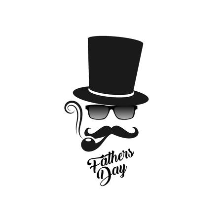 pape: Fathers day. Gentlemans man mask logo vector illustration. Smoking pape retro design template. Illustration