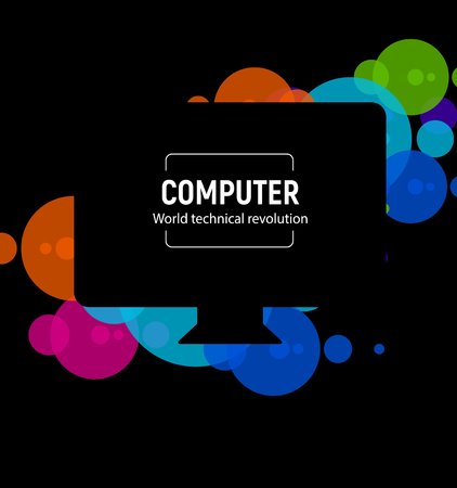 New isolated black computer. The latest technological miracle Monoblock PC model vector illustration on colorful circle background.