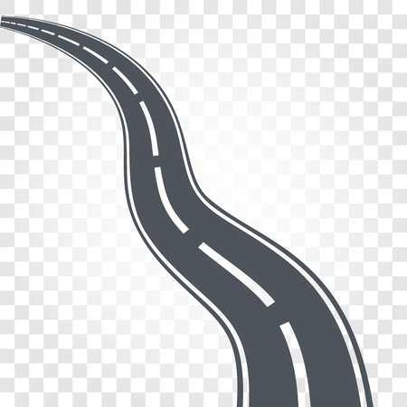 racing: Isolated black color road or highway with dividing markings on checkered background vector illustration. Illustration