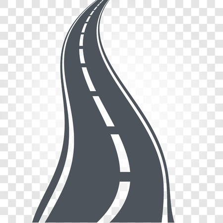 the roadside: Isolated black color road or highway with dividing markings on checkered background vector illustration. Illustration