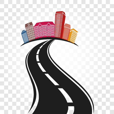 Isolated abstract empty highway with dividing marking and colorful cityscape on checkered background vector illustration. Ilustração