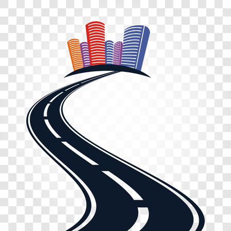 Isolated abstract empty highway with dividing marking and colorful cityscape on checkered background vector illustration. Illustration