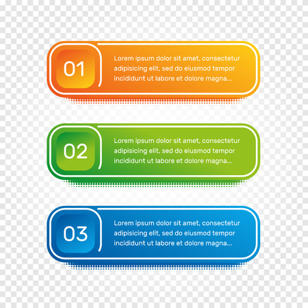 phase: Layout workflow. Outline colorful menu for app interface. Number options. Web design of buttons elements. Infographics 1. 2. 3. vector template. Text illustration.