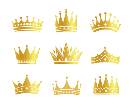 Isolated golden color crowns logo collection on white background, luxury royal sign vector illustrations set Illusztráció