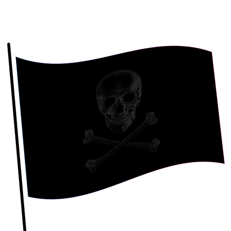 Isolated black color flag with grey image of skull, crossbones vector illustration Illustration