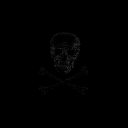 Isolated grey color image of skull on black background, crossbones vector illustration
