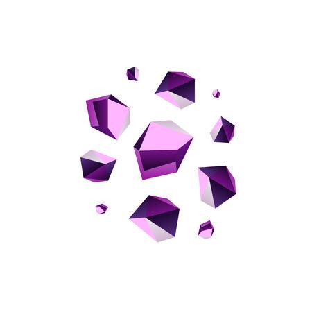 sedimentary: Amethyst stone crystal quartz mineral. Violet variety of quartz crystal cluster vector illustration Illustration