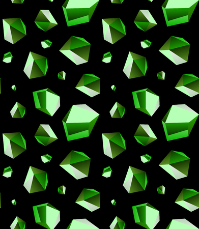 Seamless background of emerald stone crystal quartz mineral. Green variety of quartz crystal cluster vector illustration and pattern.