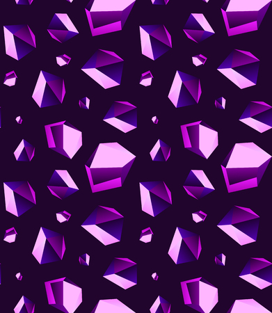 Seamless background of Amethyst stone crystal quartz mineral. Violet variety of quartz crystal cluster vector illustration and pattern. Illustration