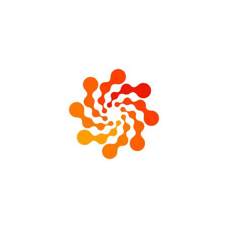 Isolated abstract round shape orange color logo, dotted stylized sun logotype on white background,swirl vector illustration Logo