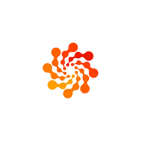 Isolated abstract round shape orange color logo, dotted stylized sun logotype on white background,swirl vector illustration
