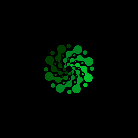 innovator: Isolated abstract green color round shape logo on black background, simple flat dotted swirl logotype, flower vector illustration