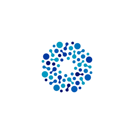 Isolated abstract round shape blue color logo, dotted logotype, water element vector illustration on white background 向量圖像