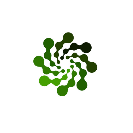 Isolated abstract green color round shape logo on white background, simple flat swirl logotype of connected dots vector illustration Çizim