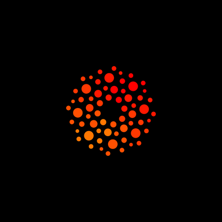 Isolated abstract round shape orange color logo, dotted stylized sun logotype on black background vector illustration