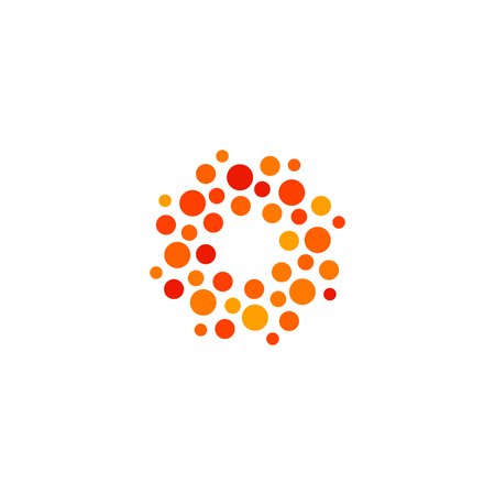 unusual: Isolated abstract round shape orange and red color logo, dotted stylized sun logotype on white background vector illustration