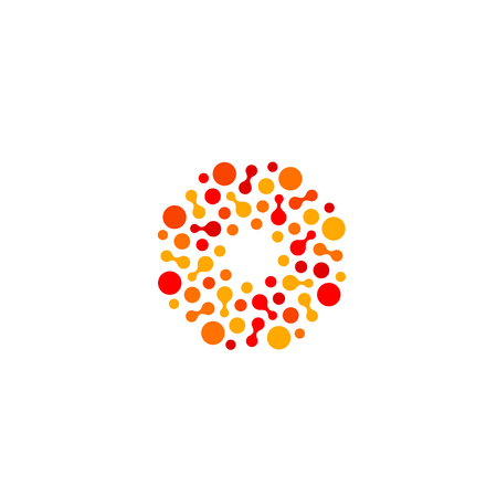 innovate: Isolated abstract round shape orange and red color logo, dotted stylized sun logotype on white background vector illustration
