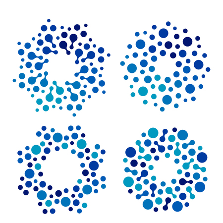 Isolated abstract round shape blue color logo set, dotted logotype collection, water element vector illustration on white background