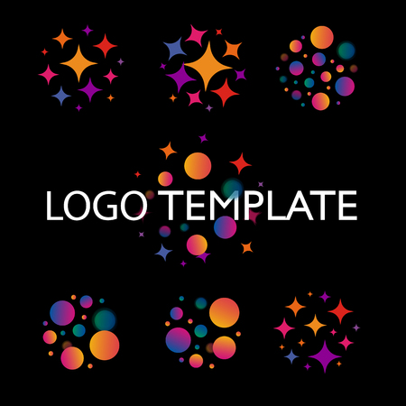 bengal fire: Cartoon explosion of balls and asterisks logo set. Bengal lights and salute on a late night. Holiday element design vector illustration and logotype collection.