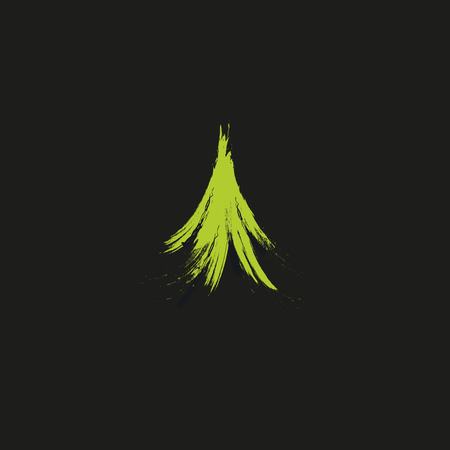 Evergreen coniferous green color needles tree, cedar, pine brunches. Abstract vector logo element. Natural leaves on black background.  イラスト・ベクター素材