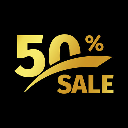 exclusive: Black banner discount purchase 50 percent sale vector gold logo on a black background. Promotional business offer for buyers logotype. Fifty percentage off, discounts in the strict style coupon.