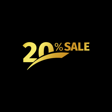 additional: Black banner discount purchase 20 percent sale vector gold logo on a black background. Promotional business offer for buyers logotype. Twenty percentage off, discounts in the strict style coupon. Illustration