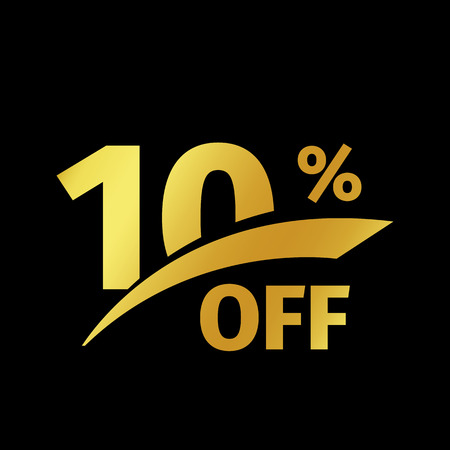 numbers background: Black banner discount purchase 10 percent sale vector gold logo on a black background. Promotional business offer for buyers logotype. Ten percentage off, discounts in the strict style coupon. Illustration